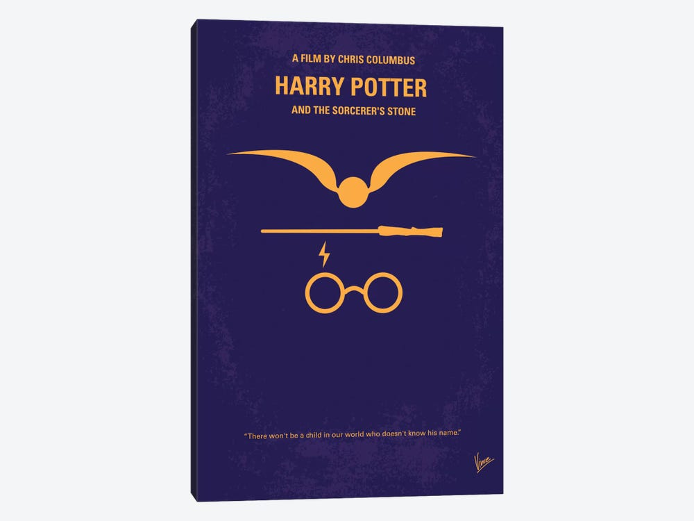 Harry Potter And The Sorcerer's Stone Minimal Movie Poster by Chungkong 1-piece Canvas Art Print