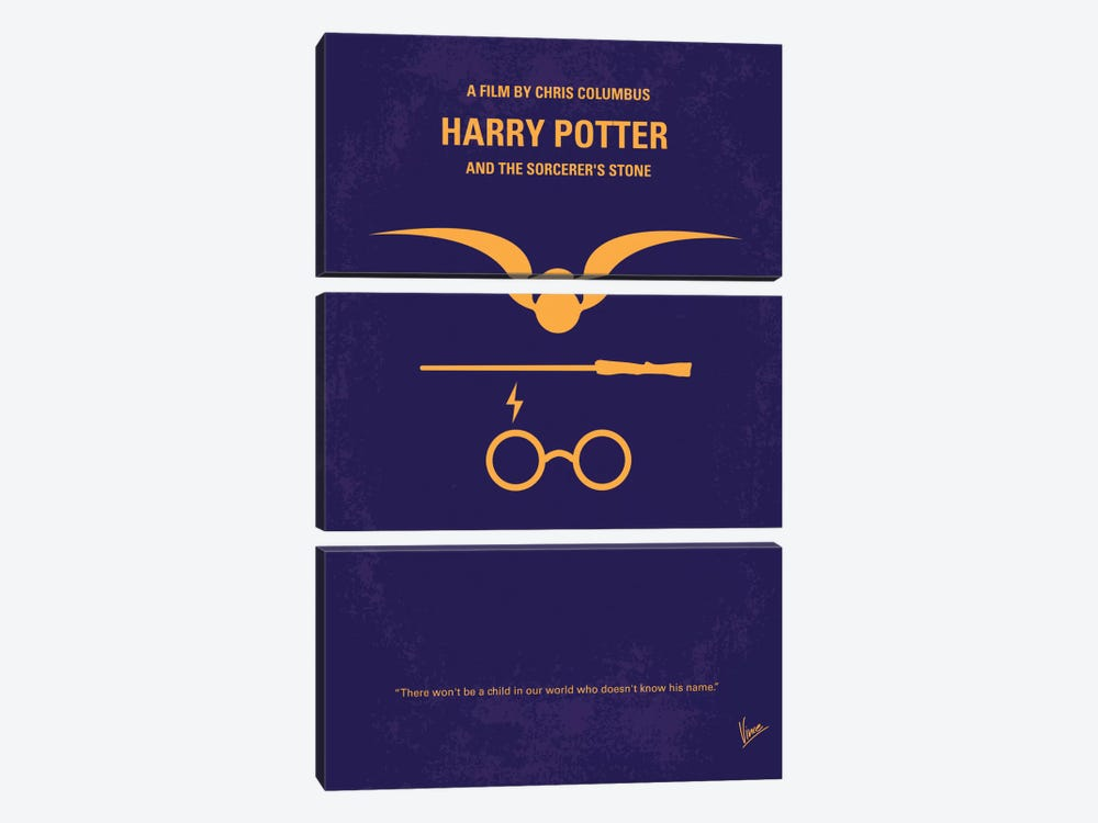 Harry Potter And The Sorcerer's Stone Minimal Movie Poster by Chungkong 3-piece Canvas Art Print