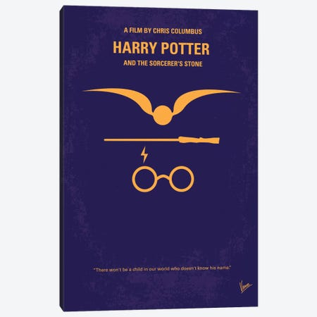Harry Potter And The Sorcerer's Stone Minimal Movie Poster 3-Piece Canvas #CKG116} by Chungkong Canvas Artwork