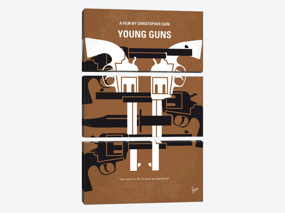 Young Guns Minimal Movie Poster by Chungkong 3-piece Canvas Print