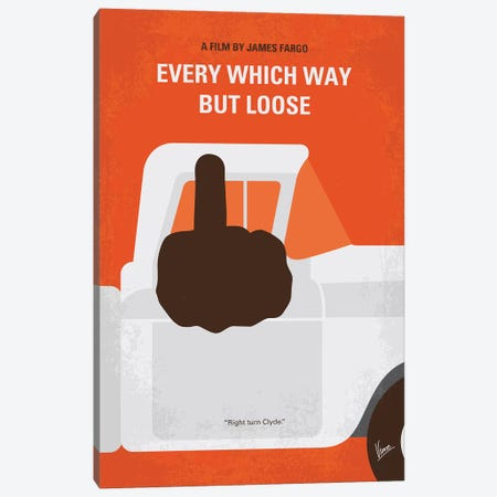 My Every Which Way But Loose Minimal Movie Poster Canvas Print #CKG1212} by Chungkong Canvas Art Print