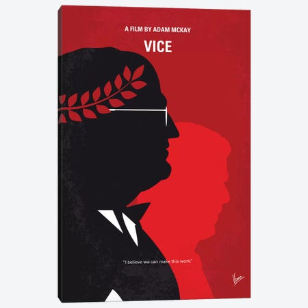 Vice Minimal Movie Poster Canvas Print #CKG1229} by Chungkong Canvas Wall Art