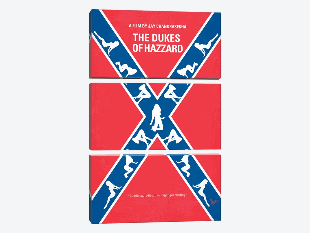 The Dukes Of Hazzard Minimal Movie Poster by Chungkong 3-piece Canvas Print