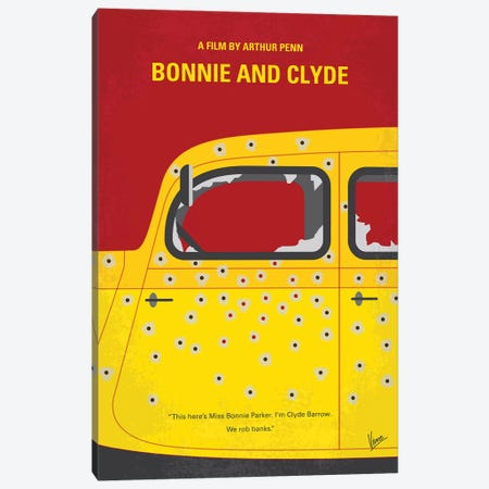Bonnie And Clyde Minimal Movie Poster Canvas Print #CKG1256} by Chungkong Canvas Artwork