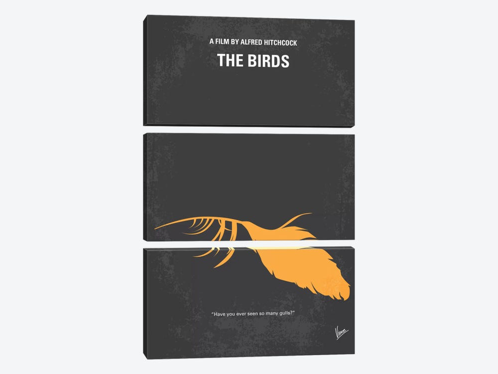Birds Minimal Movie Poster by Chungkong 3-piece Canvas Print