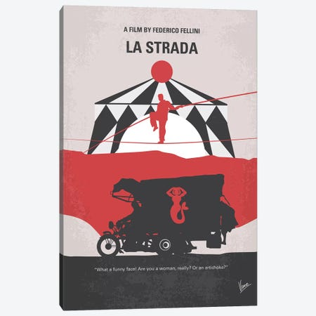 La Strada Minimal Movie Poster Canvas Print #CKG1284} by Chungkong Canvas Print