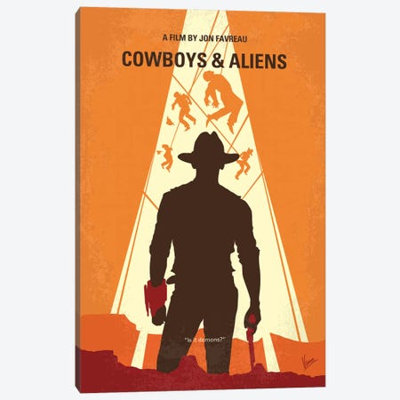 Cowboys And Aliens Minimal Movie Poster Canvas Print #CKG1289} by Chungkong Canvas Artwork