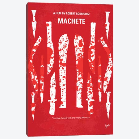 Machete Minimal Movie Poster Canvas Print #CKG128} by Chungkong Canvas Artwork