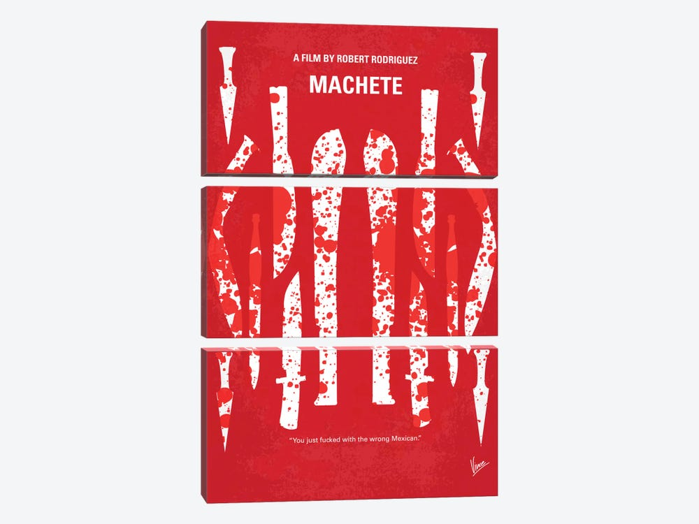 Machete Minimal Movie Poster by Chungkong 3-piece Canvas Wall Art