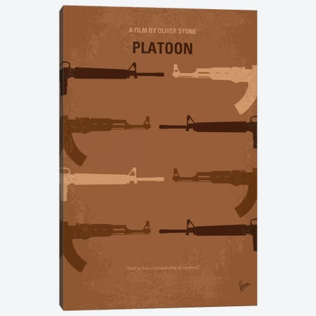 Platoon Minimal Movie Poster Canvas Print #CKG129} by Chungkong Canvas Wall Art