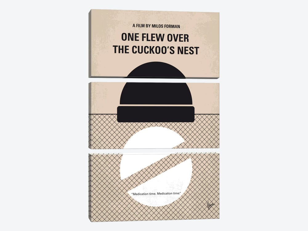 One Flew Over The Cuckoo's Nest Minimal Movie Poster by Chungkong 3-piece Canvas Wall Art