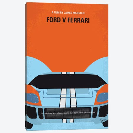 Ford V Ferrari Minimal Movie Poster Canvas Print #CKG1305} by Chungkong Canvas Wall Art