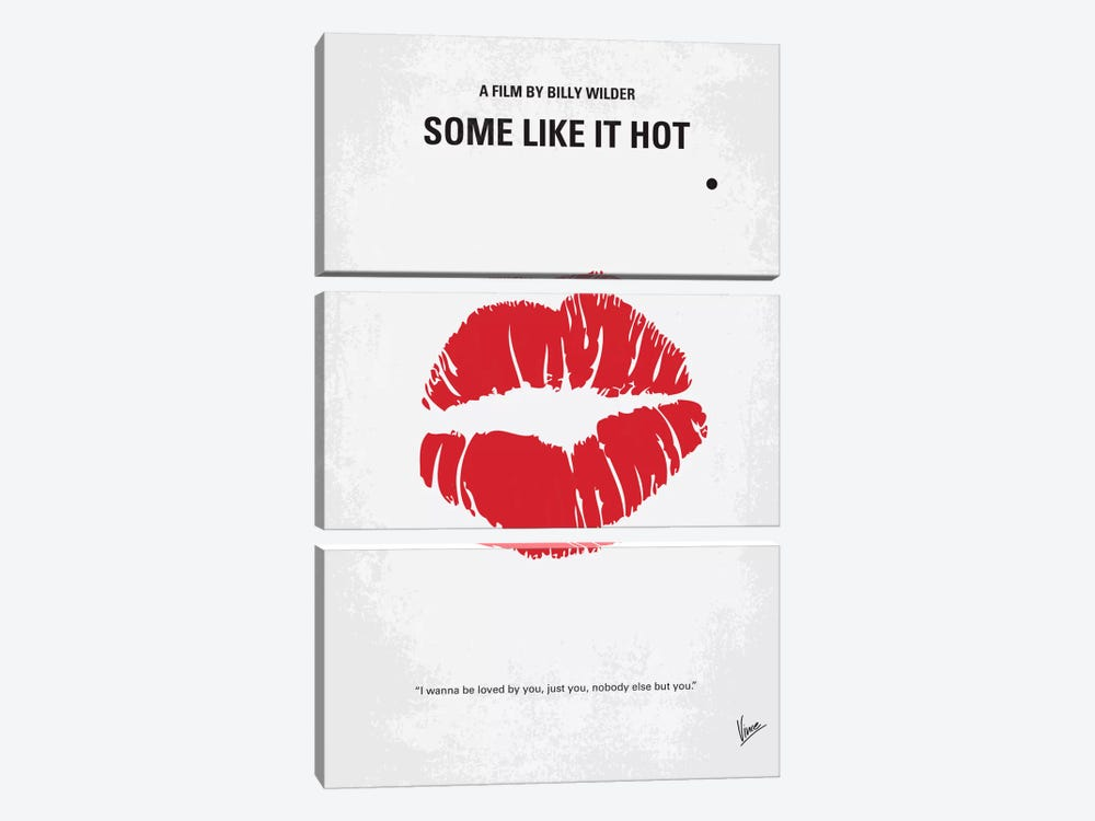 Some Like It Hot Minimal Movie Poster by Chungkong 3-piece Canvas Art Print