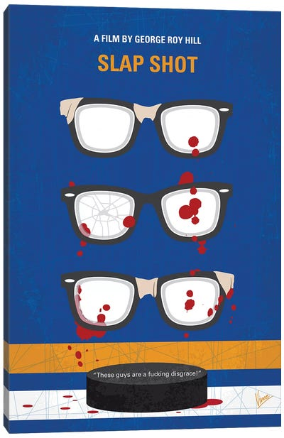 Slap Shot Minimal Movie Poster Canvas Art Print