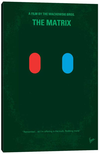 The Matrix (Which Pill Do You Choose?) Minimal Movie Poster Canvas Art Print