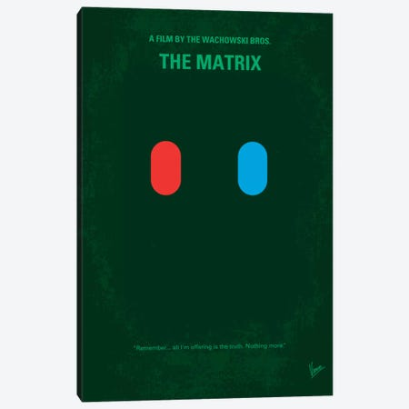 The Matrix (Which Pill Do You Choose?) Minimal Movie Poster Canvas Print #CKG131} by Chungkong Canvas Art Print