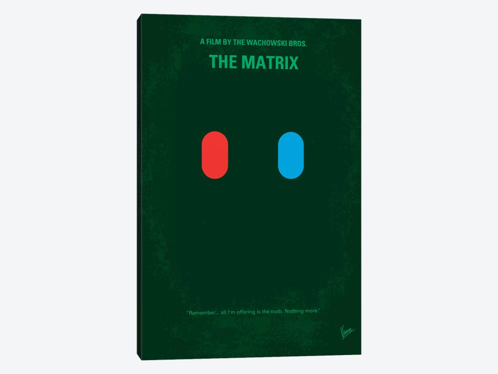 The Matrix (Which Pill Do You Choose?) Minimal Movie Poster by Chungkong 1-piece Canvas Wall Art