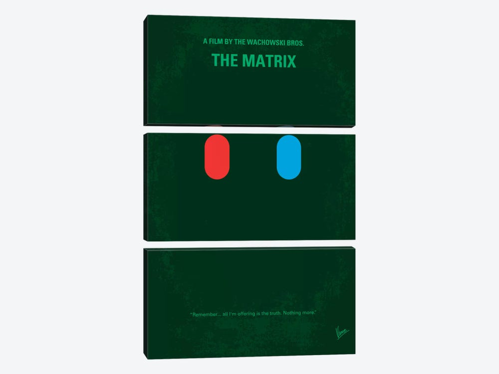 The Matrix (Which Pill Do You Choose?) Minimal Movie Poster by Chungkong 3-piece Canvas Artwork