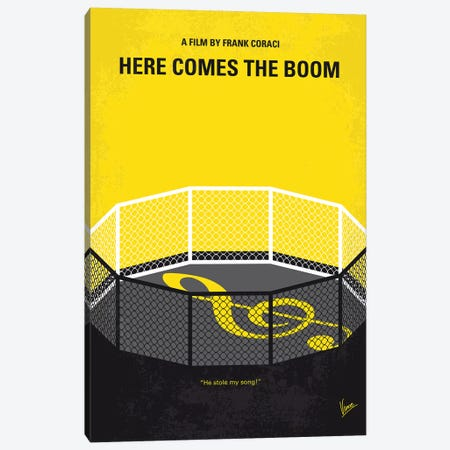 Here Comes The Boom Minimal Movie Poster Canvas Print #CKG1326} by Chungkong Canvas Artwork