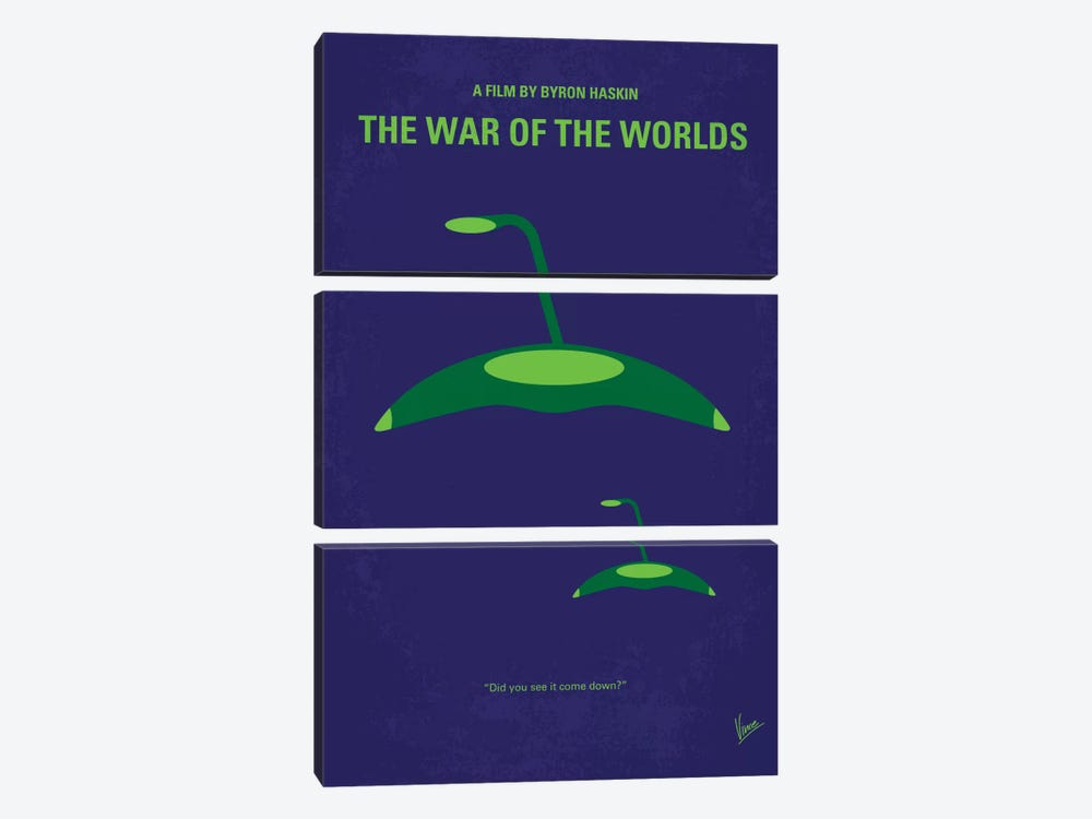 War Of The Worlds Minimal Movie Poster 3-piece Canvas Art Print