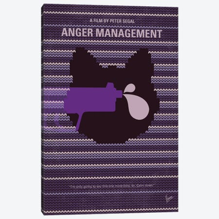 Anger Management Minimal Movie Poster Canvas Print #CKG1333} by Chungkong Canvas Wall Art
