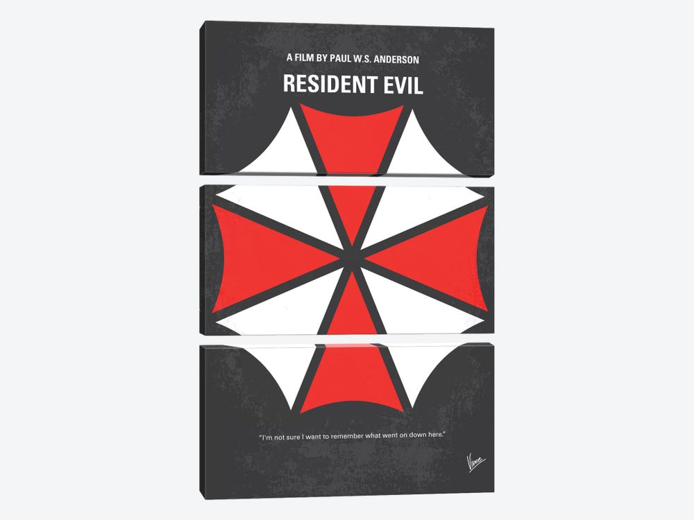 Resident Evil Minimal Movie Poster by Chungkong 3-piece Canvas Wall Art