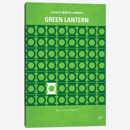 Green Lantern Minimal Movie Poster Canvas Print #CKG134} by Chungkong Canvas Artwork