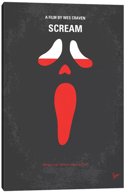 Scream Minimal Movie Poster Canvas Art Print