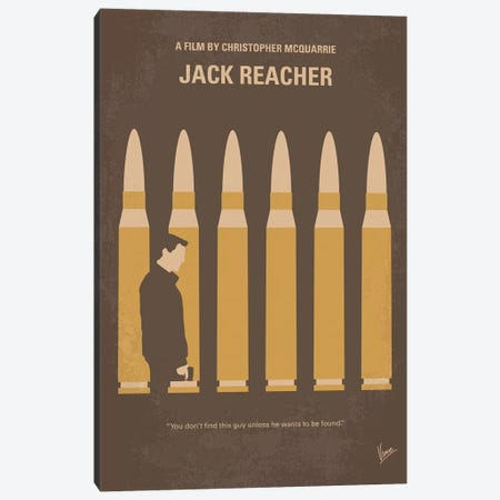 Jack Reacher Minimal Movie Poster Canvas Print #CKG1365} by Chungkong Canvas Art