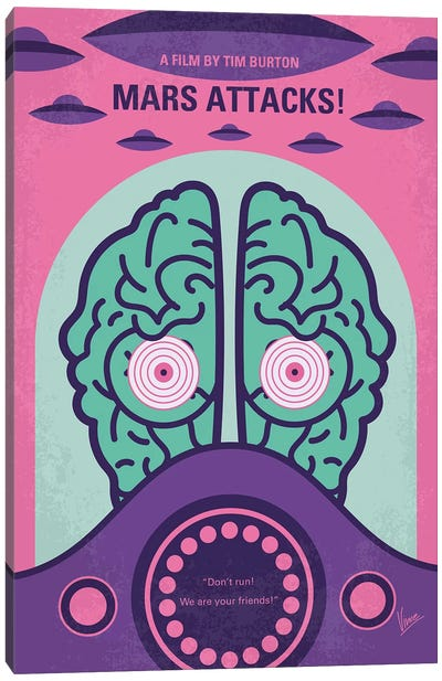 Mars Attacks Minimal Movie Poster Canvas Art Print
