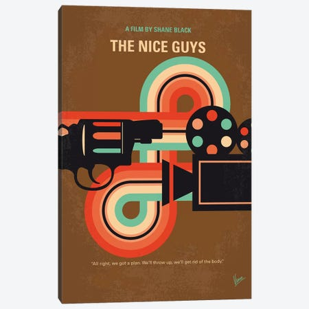 The Nice Guys Minimal Movie Poster 3-Piece Canvas #CKG1369} by Chungkong Canvas Print