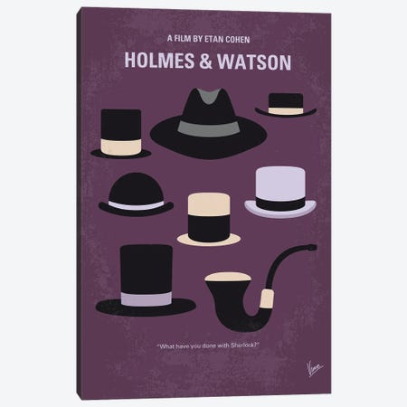 My Holmes And Watson Minimal Movie Poster Canvas Print #CKG1380} by Chungkong Art Print