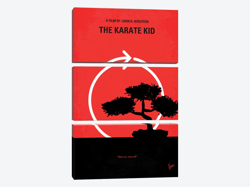 Karate Kid Minimal Movie Poster by Chungkong 3-piece Canvas Print