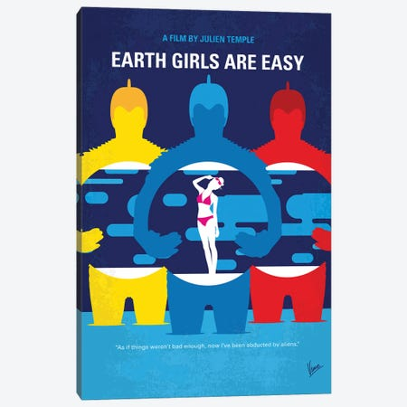My Earth Girls Are Easy Minimal Movie Poster Canvas Print #CKG1391} by Chungkong Canvas Artwork