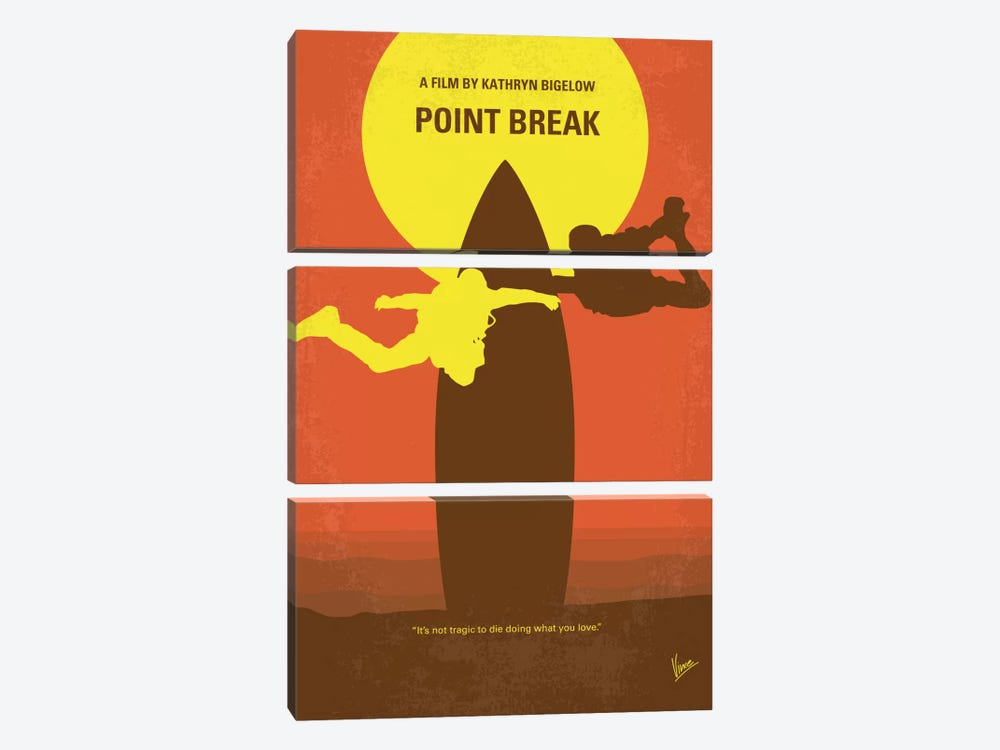 Point Break Minimal Movie Poster by Chungkong 3-piece Canvas Art Print