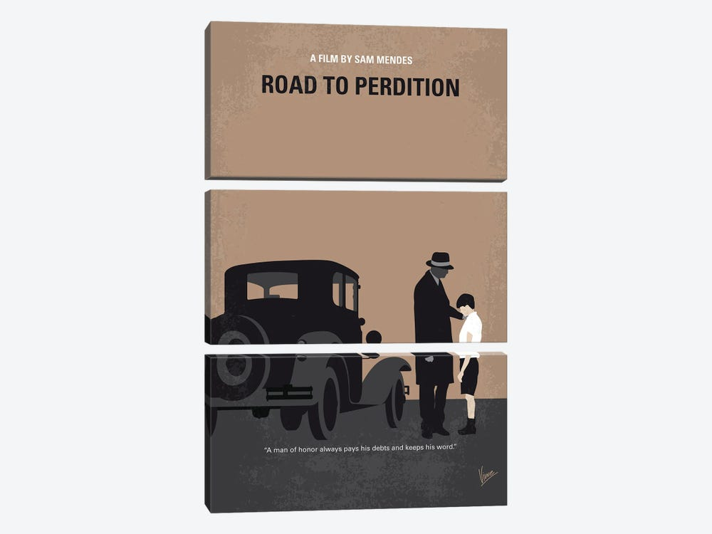 My Road To Perdition Minimal Movie Poster by Chungkong 3-piece Canvas Art Print
