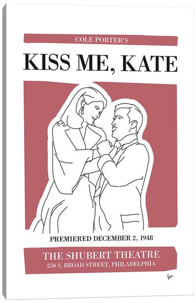 My Kiss Me Kate Musical Poster Canvas Art Print