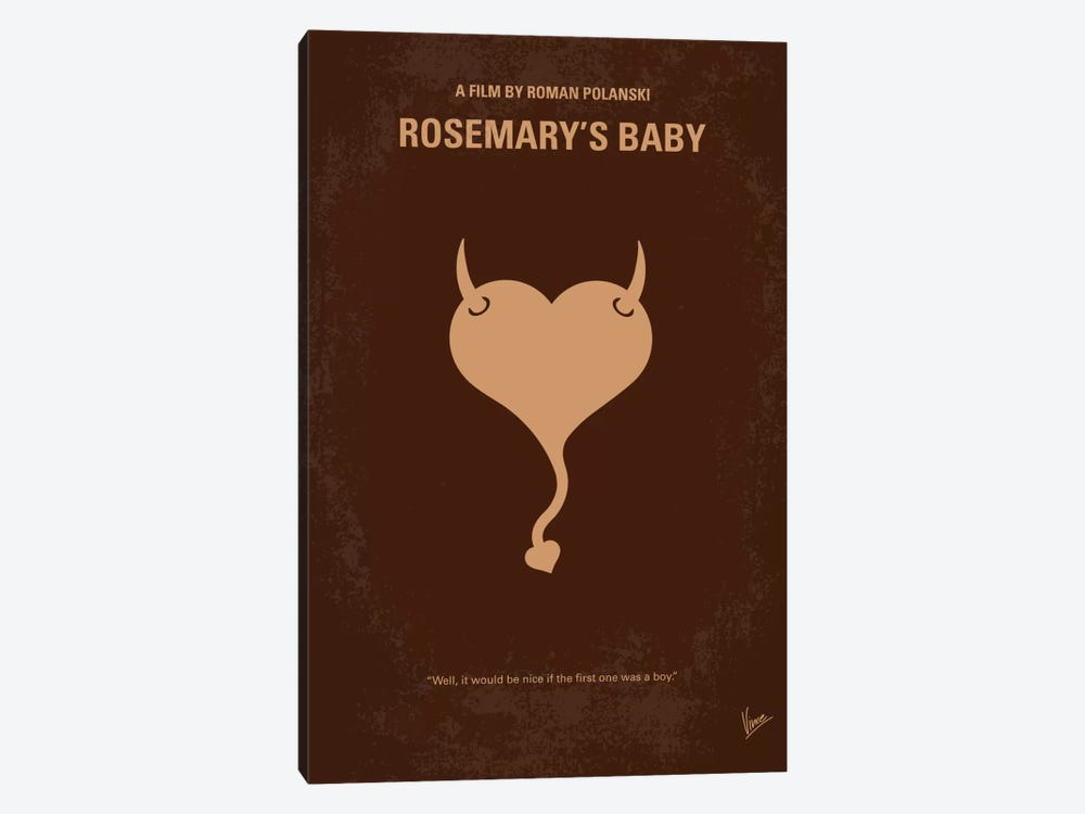 Rosemary's Baby Minimal Movie Poster by Chungkong 1-piece Canvas Art