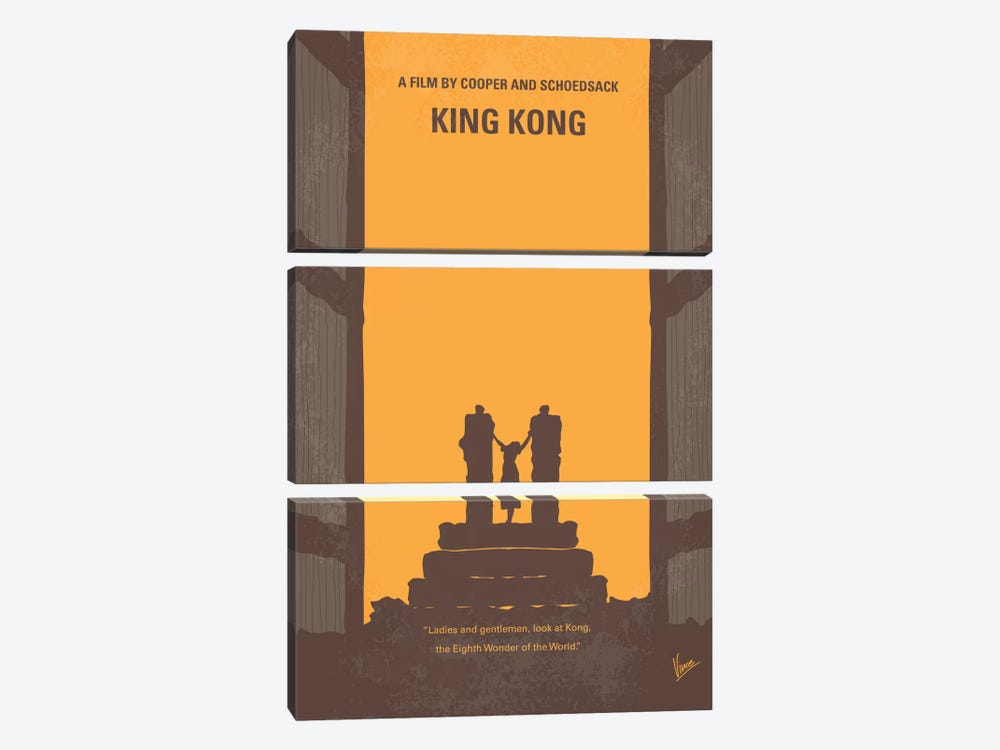 King Kong Minimal Movie Poster by Chungkong 3-piece Canvas Art Print