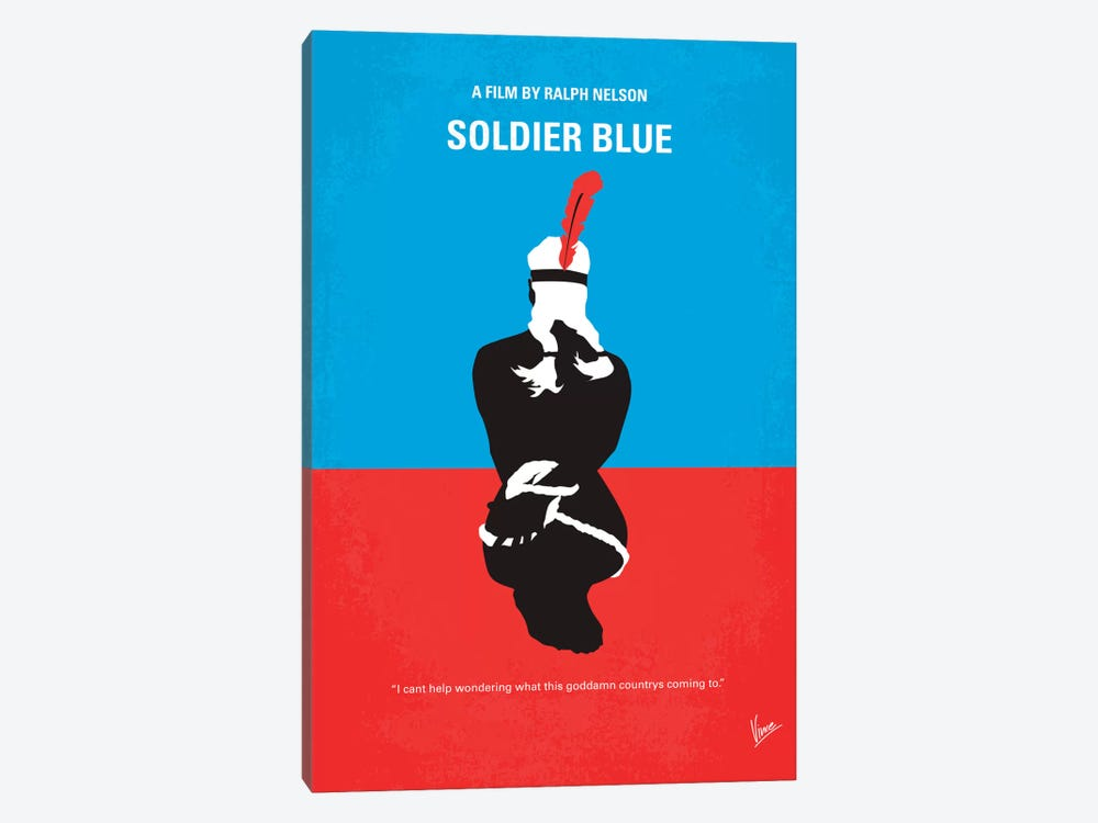 Soldier Blue Minimal Movie Poster by Chungkong 1-piece Canvas Wall Art