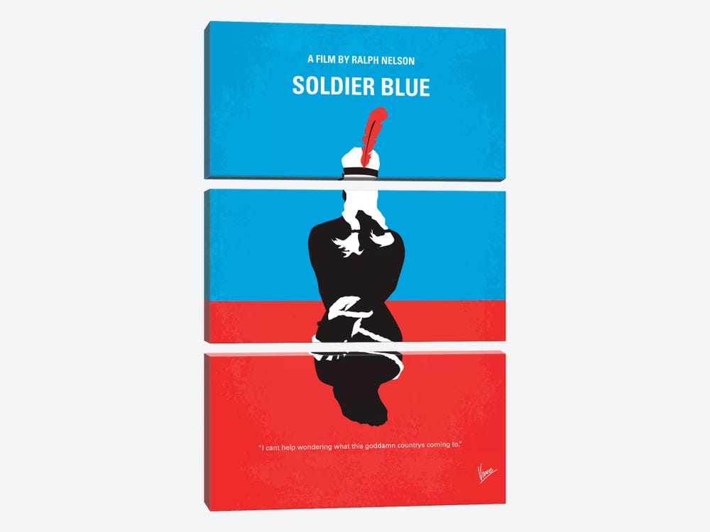 Soldier Blue Minimal Movie Poster by Chungkong 3-piece Canvas Artwork