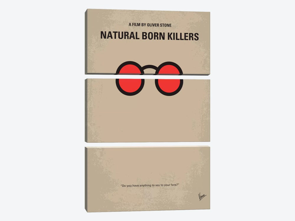 Natural Born Killers Minimal Movie Poster by Chungkong 3-piece Canvas Wall Art