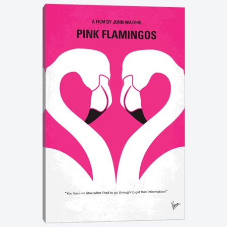 Pink Flamingos Minimal Movie Poster Canvas Print #CKG154} by Chungkong Canvas Wall Art