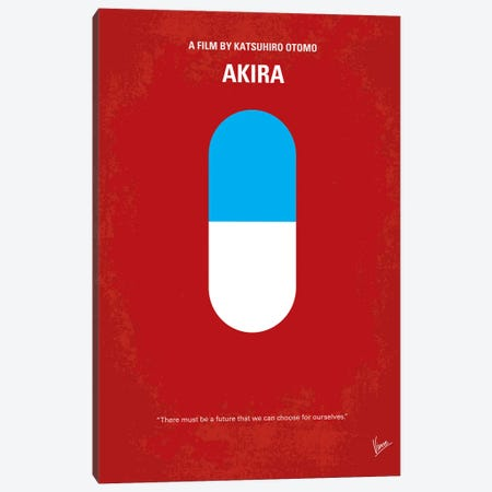 Akira Minimal Movie Poster Canvas Print #CKG156} by Chungkong Canvas Wall Art