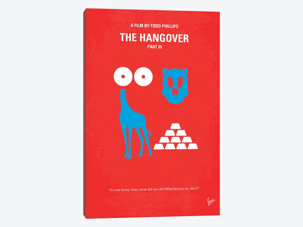 The Hangover Part III Minimal Movie Poster by Chungkong 1-piece Canvas Art