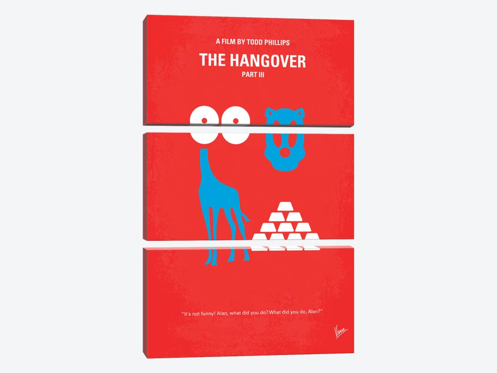 The Hangover Part III Minimal Movie Poster by Chungkong 3-piece Canvas Art