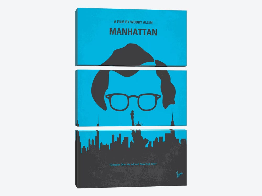 Manhattan Minimal Movie Poster by Chungkong 3-piece Canvas Wall Art