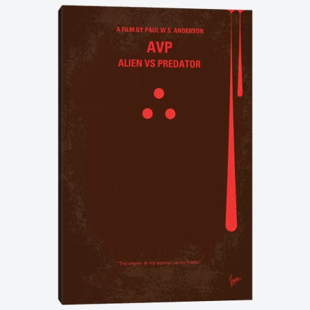 AVP: Alien vs. Predator Minimal Movie Poster Canvas Print #CKG162} by Chungkong Canvas Artwork