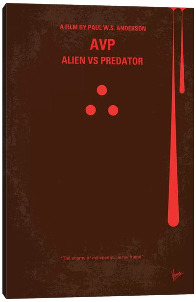 AVP: Alien vs. Predator Minimal Movie Poster Canvas Art Print