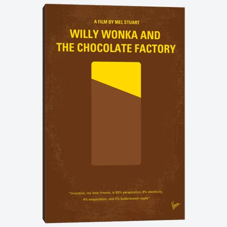 Willy Wonka And The Chocolate Factory Minimal Movie Poster Canvas Print #CKG163} by Chungkong Canvas Art